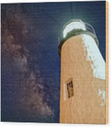 The Milky Way Over Pemaquid Point Wood Print
