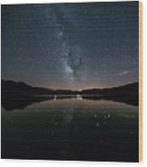 The Milky Way Over The Minho River Wood Print