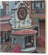 The Mission Inn Clock Tower Wood Print