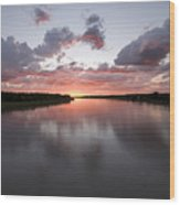 The Missouri River At Sunset Reflects Wood Print