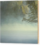 The Mists Of Hunt Lake Wood Print by Stuart Deacon