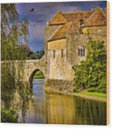The Moat At Leeds Castle Wood Print