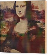The Mona Lisa Colorful Watercolor Portrait On Worn Canvas Wood Print