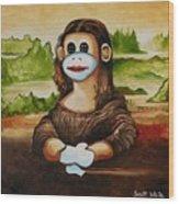 The Monkey Lisa Wood Print