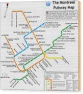 The Montreal Pubway Map Wood Print