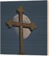 The Moon And The Cross II Wood Print