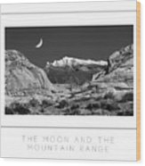 The Moon And The Mountain Range Poster Wood Print