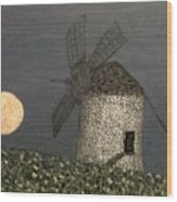 The Moon And The Windmill Wood Print