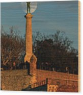 The Moon Rising Behind The Victor Statue In Belgrade In The Golden Hour Wood Print
