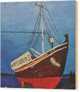 The Mykonos Boat Wood Print