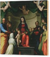 The Mystic Marriage Of St Catherine Of Siena With Saints Wood Print