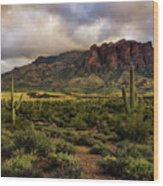 The Mystical Beauty Of The Superstitions  Wood Print