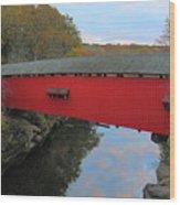 The Narrows Covered Bridge At Dusk Wood Print