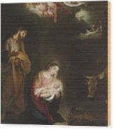 The Nativity With The Annunciation To The Shepherds Beyond Wood Print