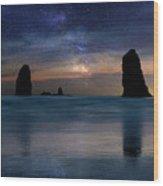 The Needles Rocks Under Starry Night Sky Wood Print