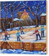 The Neighborhood Hockey Rink Wood Print