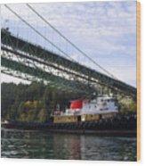 The New Tacoma Narrows Bridge - Crowley Tug Wood Print