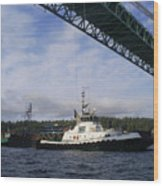 The New Tacoma Narrows Bridge - Foss Tug Wood Print
