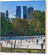The New York Central Park Ice Rink  Wood Print