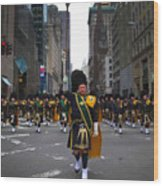 The New York City Police Emerald Society Pipe And Drum Corps Wood Print