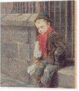 The News Boy Wood Print