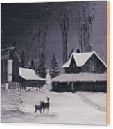 The Night Before Christmas Silvertoned Wood Print