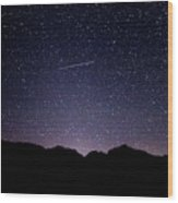 The Night Landscape View And The Stars At Tuttle Creek, Lone Pin Wood Print