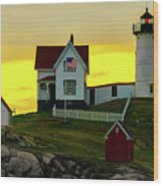 The Nubble Cape Neddick Lighthouse In Maine At Dawn Wood Print