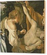 The Nursing Of Saint Sebastian Wood Print by Theodore van Baburen