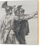 The Oath Of The Horatii, Detail Of The Horatii  Wood Print