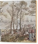 The Officers And Seaman Of The Fleet On Shore At Nargen Wood Print