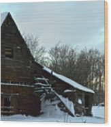 The Old Barn Winter Scene  Wood Print