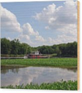 The Old Boat On The Mississippi River Wood Print