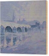 The Old Bridge In Morning Fog Maastricht Wood Print