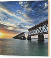 The Old Bridge Sunset - V2 Wood Print