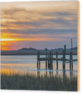 The Old Dock - Charleston Low Country Wood Print