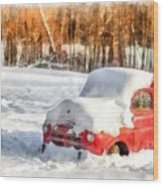 The Old Farm Truck In The Snow Wood Print