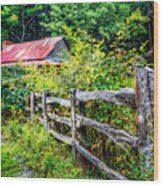 The Old Fence Wood Print