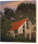The Old Lowdermilk Barn - Red Roof Barn Rustic Country Rural Antique Wood Print by Jon Holiday