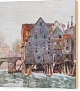 The Old Mills At Meaux Wood Print