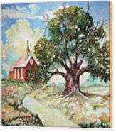 The Old Oak Church Wood Print