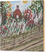 The Old Red Church Wood Print