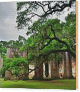 The Old Sheldon Church Ruins Wood Print