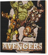 The Old Time-y Avengers Wood Print by Brian Kesinger