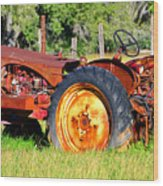 The Old Tractor In The Field Wood Print