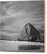 The Ominous Haystack Rock Wood Print