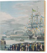The Opening Of Saint Katharine Docks Wood Print