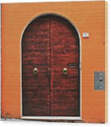The Orange House Wood Print