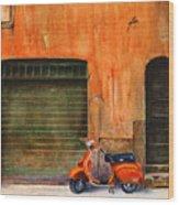 The Orange Vespa Wood Print