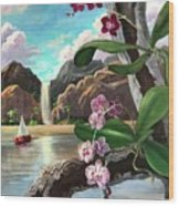 The Orchids And The Sailboat Wood Print